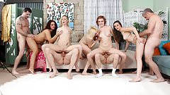 5 girls fucked in an orgy