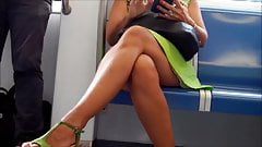 Candid Mature With Fuckable Crossed Legs on Subway