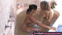 Girls Out West – Cute lesbians in a whirlpool tub