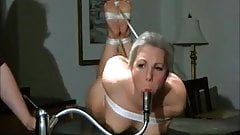 Naked girl gagged with faucet