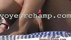 Voyeurchamp.com-Shes Nude At Clothed Beach Causes A Fight!